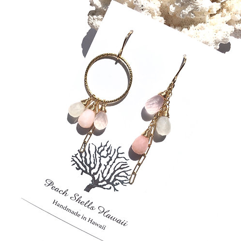 14KGF Asymmetric Pink Opal Earrings