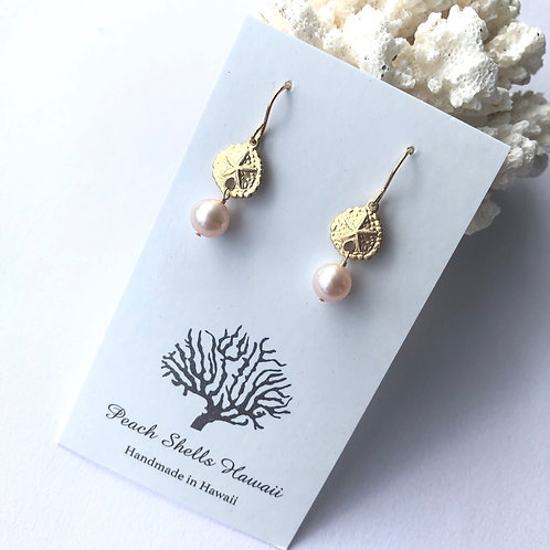 14KGF FW Pearl Earrings w/Seastar Charm