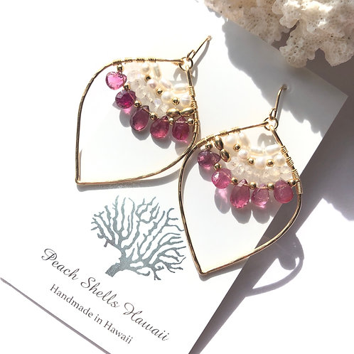14KGF Pink Tourmaline Lotus Earrings