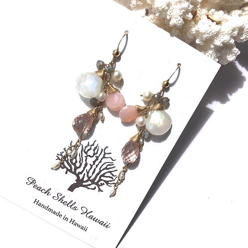 14KGF Rainbow Moonstone & Pink Opal Waterfall Earrings