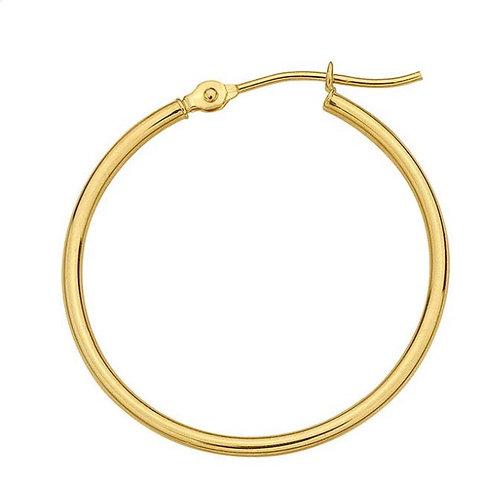 """14 Karat Yellow Gold 25mm Round / 1.5mm Tubing Hoop Earrings"