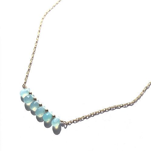 Aqua Chalcedony Bar Necklace