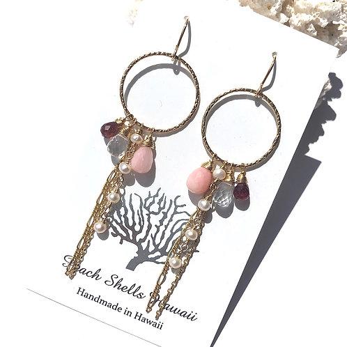 14KGF Hoop Charm Earrings