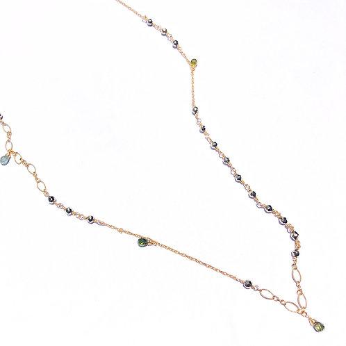 14KGF Pyrite & Tourmaline Long Necklace