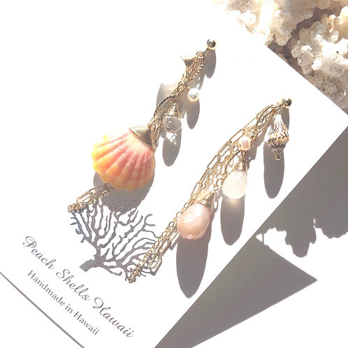 14KGF Asymmetric Sunrise Shell Charm Earrings  (3)