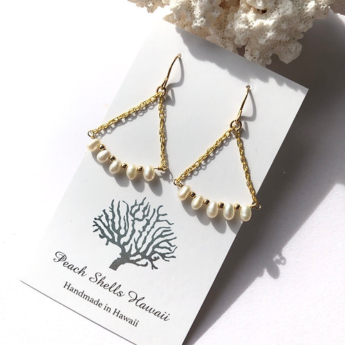 14KGF White Freshwater Pearl Earrings