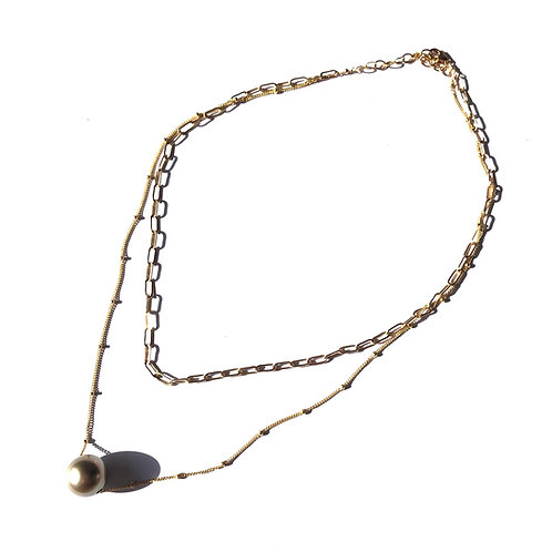 Double Chain Tahitian Pearl Floating Necklace