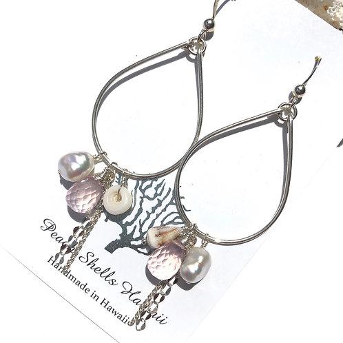Sterling Silver Charm Earrings Rose Quartz