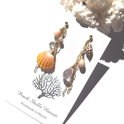 14KGF Asymmetric Sunrise Shell Charm Earrings (2)