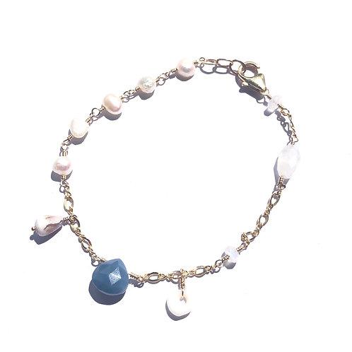 Blue Opal Charm Bracelet