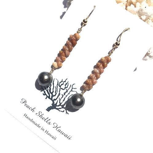 Kauai Kahelelani Shell and Tahitian Pearl Earrings