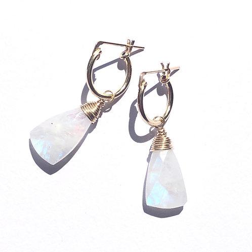 14KGF Hoop Earrings With Rainbow Moonstone