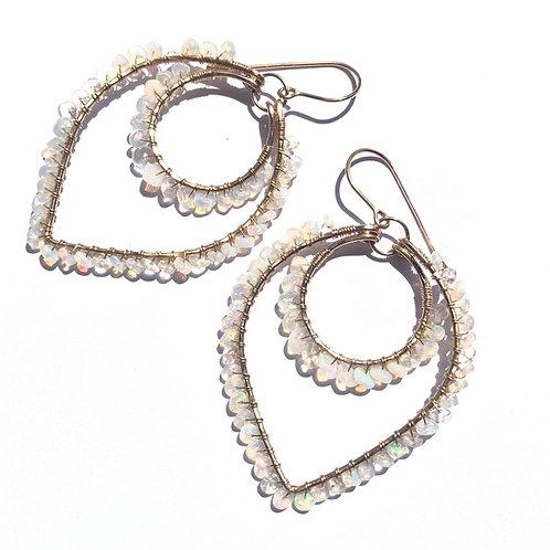 14KGF Lotus Earrings with Ethiopian Opal