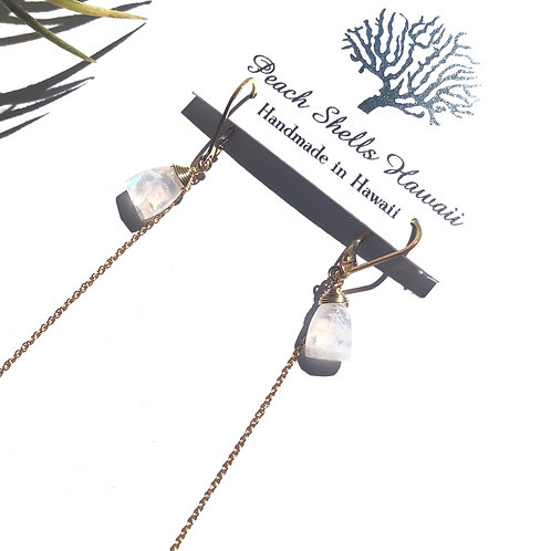 Rainbow Moonstone With Accent Chain Earrings