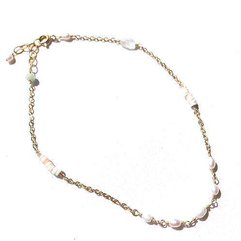 "14KGF FW Oval Pearl Link Anklet (9"" - 10"")"