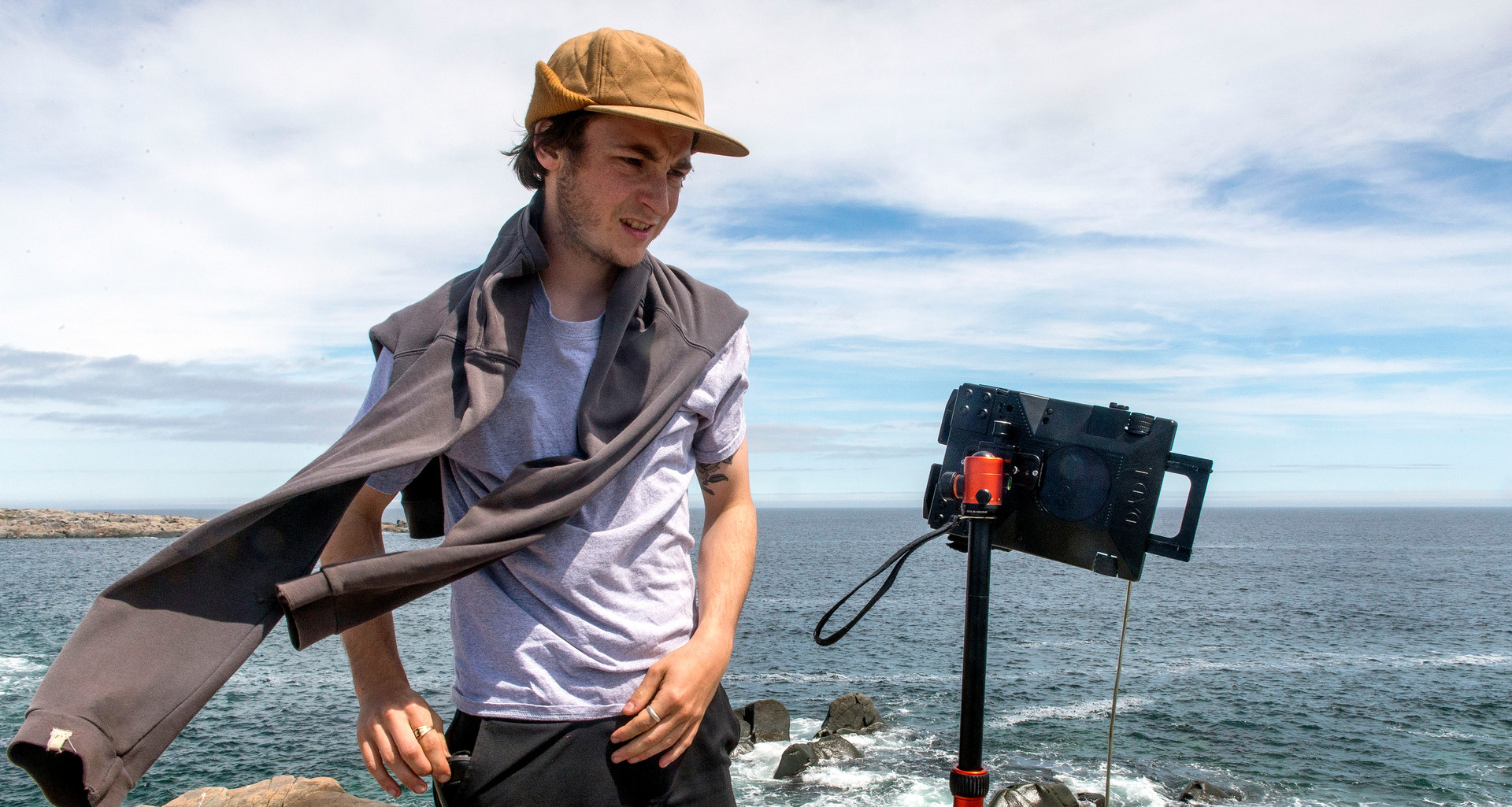 Murphy on location at Oliver's Cove with his large format camera. Portrait courtesy Paddy Barry