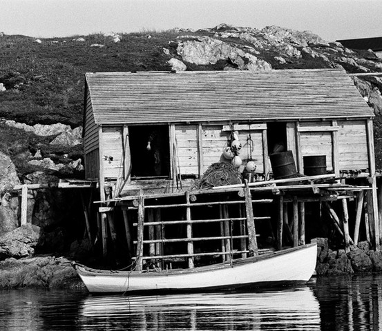 Fishing stage and punt, Little Fogo Islands, 1973 Photos compliments of Bonnie McCay Merritt