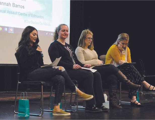 """A student shares her story of recovery and resiliency at """"Our Bodies, Our Minds"""" hosted by Concordia University through one of our partners, Art with Impact."""