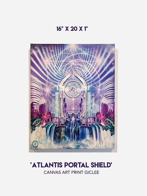 "'Atlantis Portal Shield' 16""x 20"" Canvas Art Print Giclee"