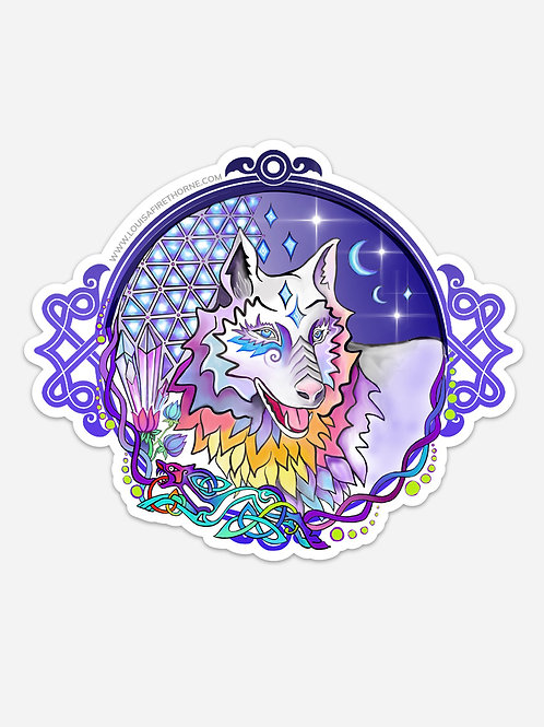 "Celtic Wolf Spirit Jumbo Art Sticker  7"" x 5.9"""