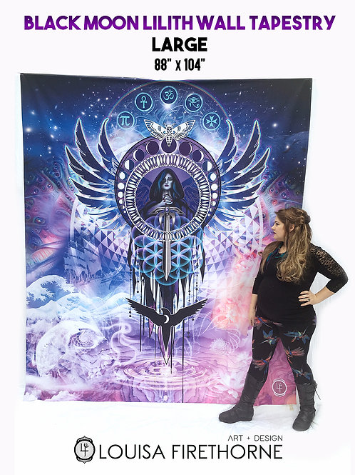 Large- Black Moon Lilith Wall Tapestry
