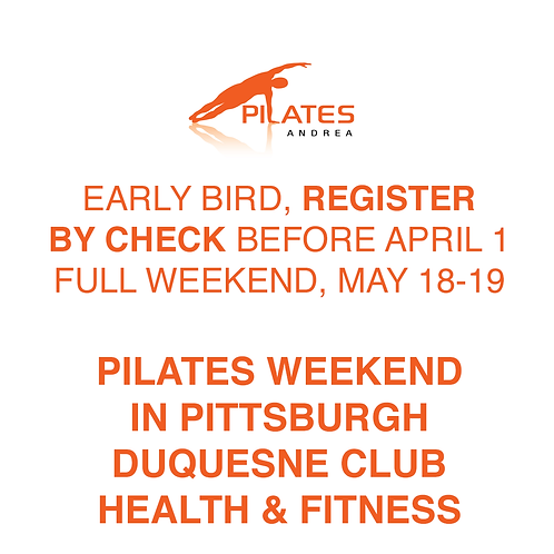 PILATES ANDREA - Early Bird Check (before April 1), Full Weekend