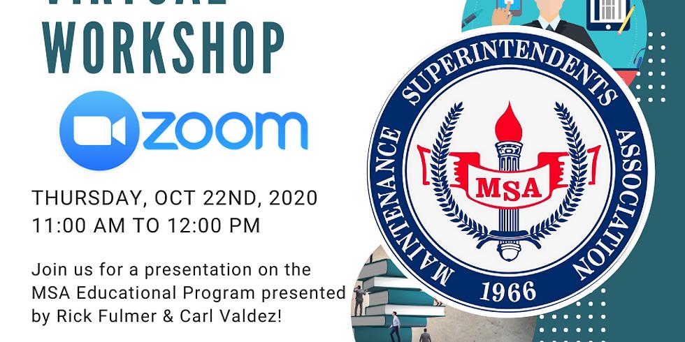 October Zoom Workshop - MSA Education Program