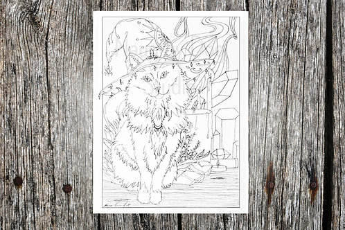 Halloween Witchy Kitty Coloring Page