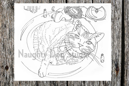 Cat in Sink Coloring Page