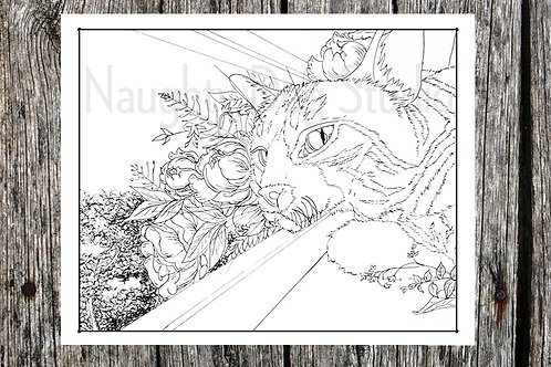 Window Cat Coloring Page