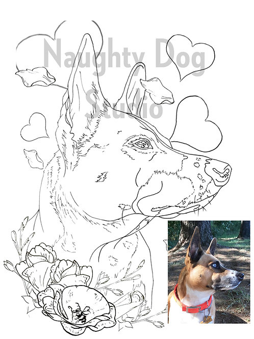 Custom / Personalized Pet Coloring Page