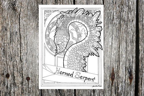 Horned Serpent Coloring Page