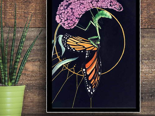 Circle o Life: Praying Mantis and Monarch Butterfly Watercolor Painting