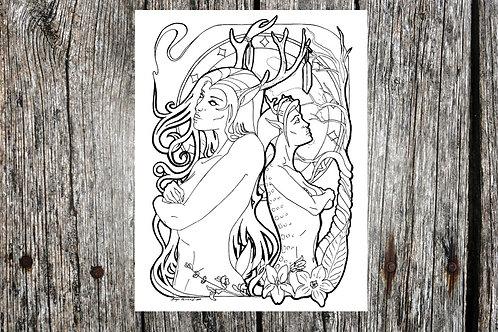Deer Woman Coloring Page