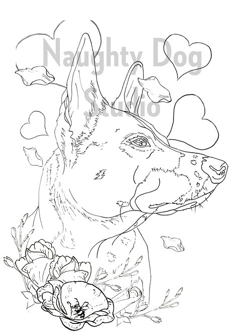 Valentine Dog Coloring Page