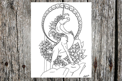 Unicorn / Peacock Coloring Page