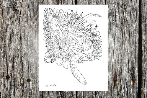 Cat Coloring Page- Floral 2