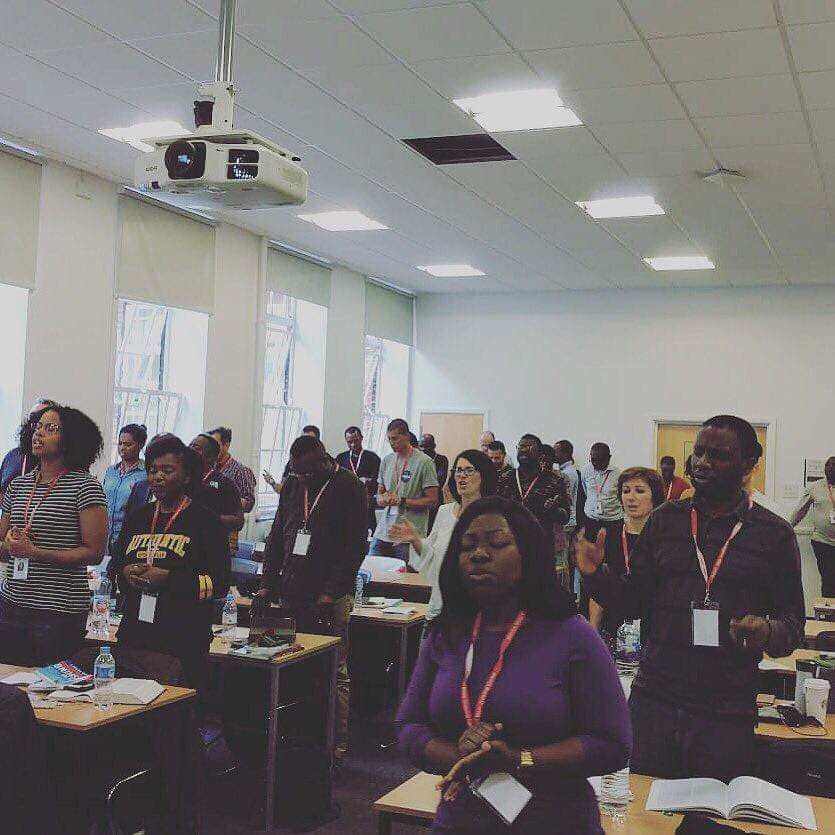 Kelley leading prayer school at Rhema Bible College(RBC) in London