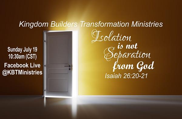 Isolation not Separation KBTM FBCover.pn