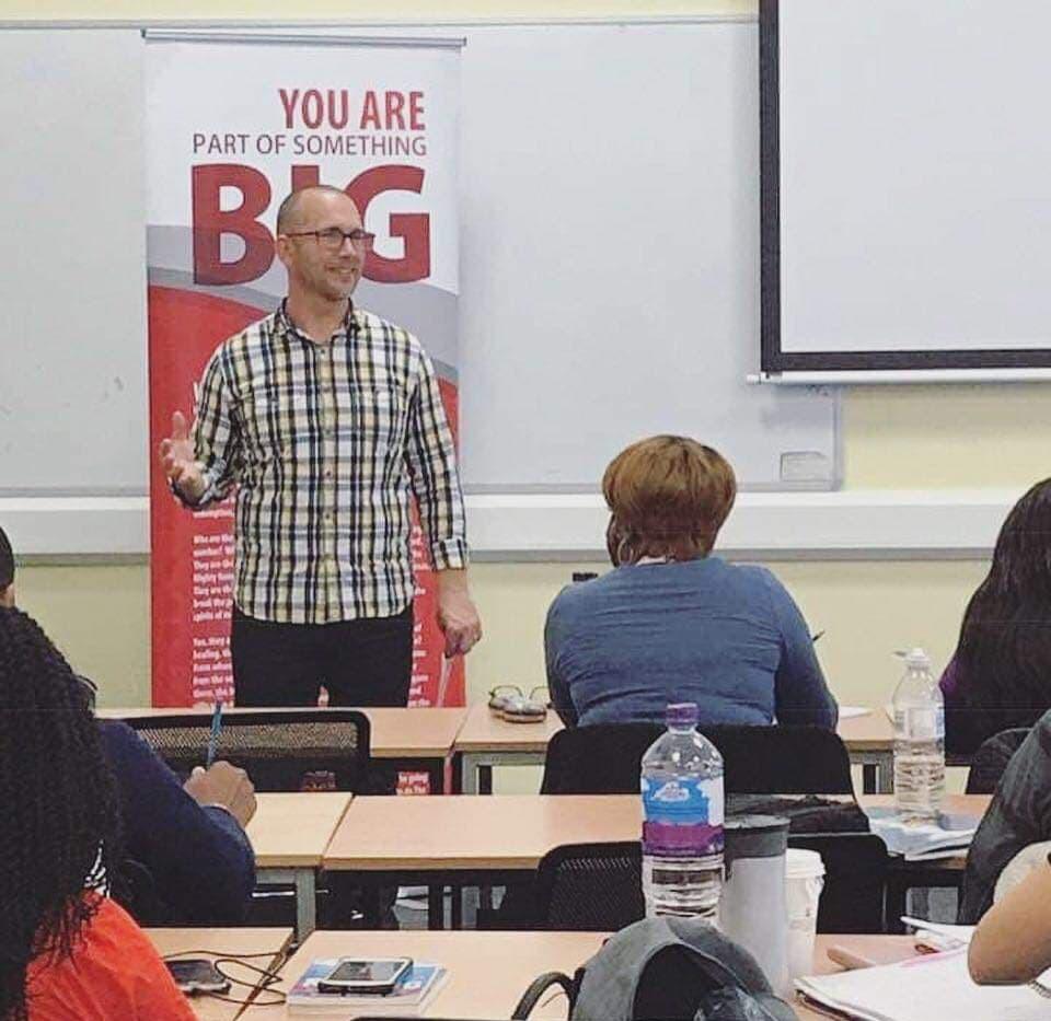 Mike teaching at Rhema Bible College in London
