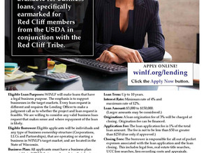 Red Cliff Tribal Members Business Loans