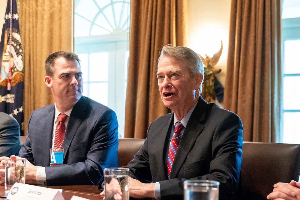 Idaho Gov. Brad Little speaks in a meeting during a visit to the White House