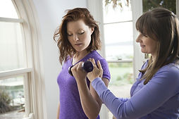 Women's health with client and light weights