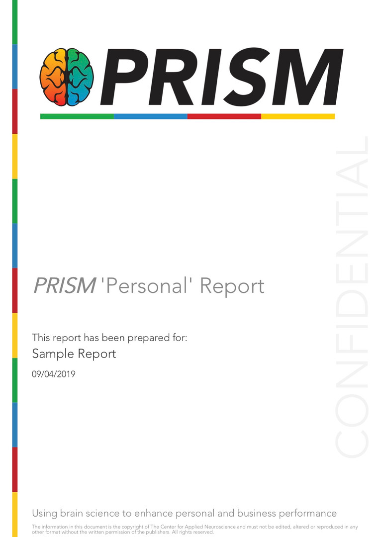 Sample PRISM Personal Report cover page.