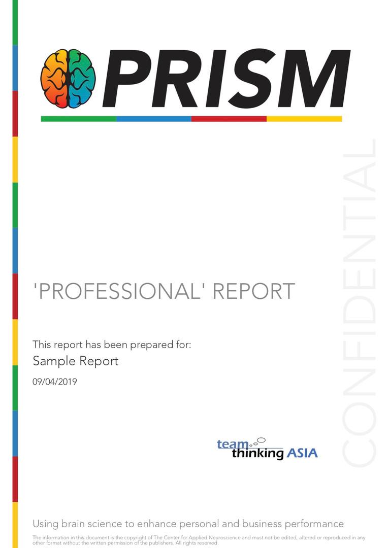 Sample PRISM Professional Report cover p