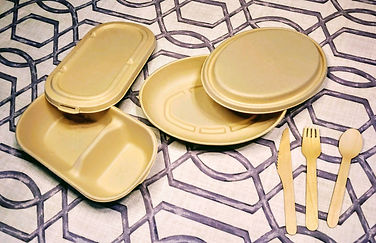 rectangular and oval boxes and utensils