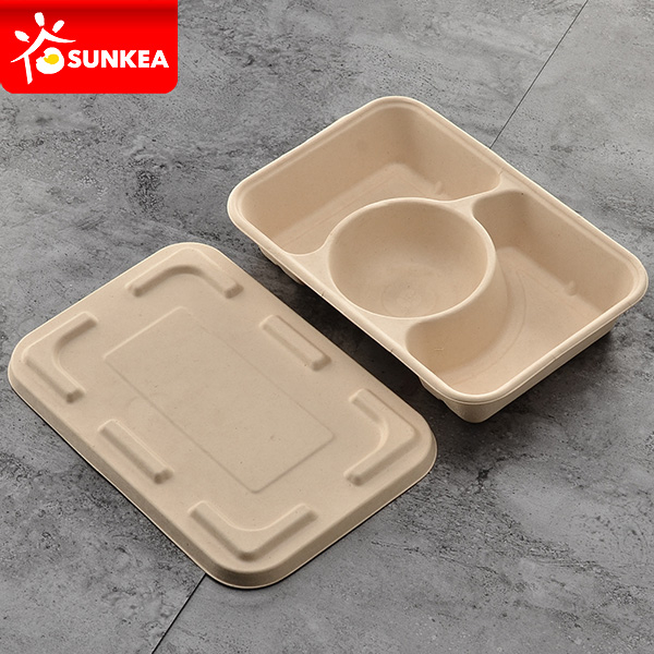 bamboo fiber compartmented takeaway box