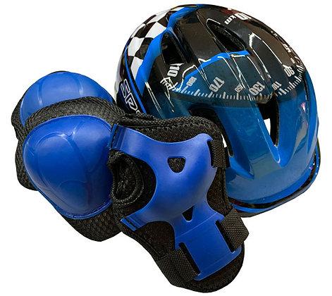 Kit Casco y Protecciones Blazer Para Niños Ajustable Azul