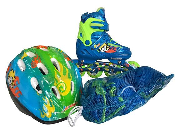 Patines Fitness Azul niños protecciones, mochila y casco GF 139