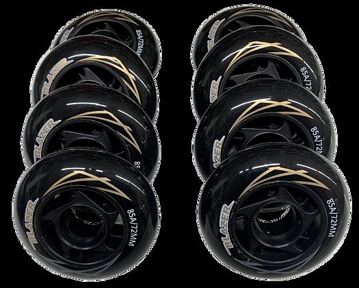 8 ruedas de 72 mm y 85A de dureza: Negra y Rosa